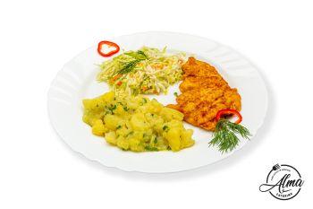 Șnițel de pui cu cartofi țărănești și salată de varză albă  / salată de varză murată